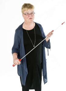 Lena Mellin 2012. Här syns hon med en pekpinne.